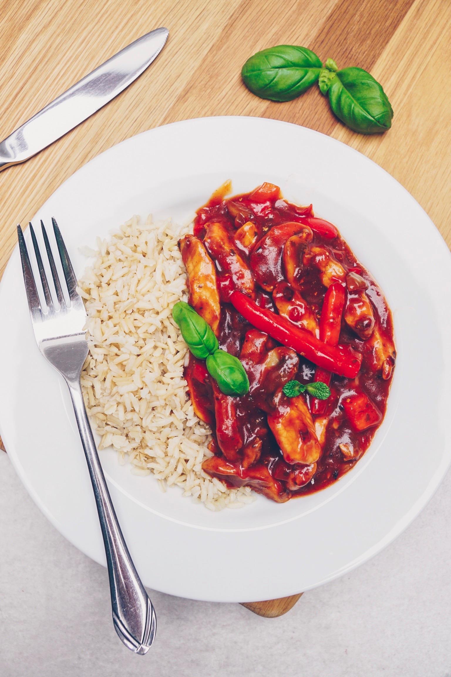 Pfannenschaschlik mit Reis